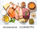 protein sources   meat  fish ... | Shutterstock . vector #1118483792