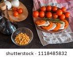 italian bruschetta with chopped ... | Shutterstock . vector #1118485832
