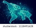 world map on a technological... | Shutterstock . vector #1118491628