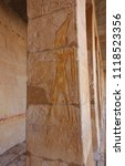 Small photo of Ancient Egyptian reliefs in the Hatsepsut Temple in Thebes, UNESCO World Heritage Site. Relief located outside, at the temple.