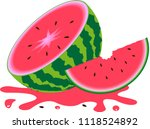 watermelon and slices of... | Shutterstock .eps vector #1118524892