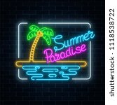 glowing neon summer paradise... | Shutterstock . vector #1118538722