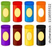colorful cartoon jar set. mock... | Shutterstock .eps vector #1118555522