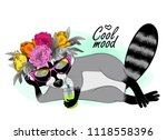 vector raccoon with a pink... | Shutterstock .eps vector #1118558396