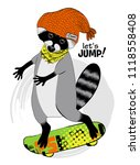 vector raccoon with a... | Shutterstock .eps vector #1118558408