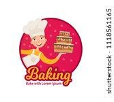 logo of home baking. happy... | Shutterstock .eps vector #1118561165