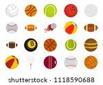 sport balls icon set. flat set... | Shutterstock . vector #1118590688
