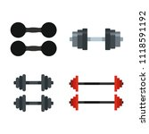 dumbbell icon set. flat set of... | Shutterstock . vector #1118591192