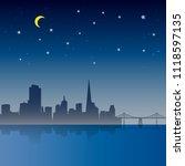 san francisco city night scene    Shutterstock .eps vector #1118597135