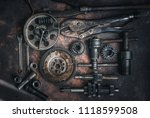 old wrench and tools and engine ... | Shutterstock . vector #1118599508