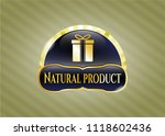 gold badge with gift box icon... | Shutterstock .eps vector #1118602436