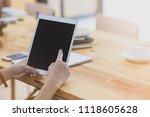 student girl using tablet on... | Shutterstock . vector #1118605628
