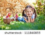 little girl with fruit. | Shutterstock . vector #111860855