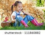 little girl with fruit. | Shutterstock . vector #111860882