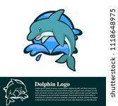 dolphin character logo  | Shutterstock .eps vector #1118648975