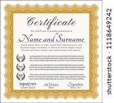 orange certificate template.... | Shutterstock .eps vector #1118649242