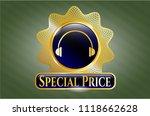 gold badge with headphones... | Shutterstock .eps vector #1118662628