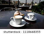 cappuccino and croissant ...   Shutterstock . vector #1118668355