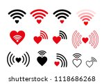 set of wifi heart icon. vector... | Shutterstock .eps vector #1118686268