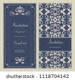 wedding card or invitation with ... | Shutterstock .eps vector #1118704142