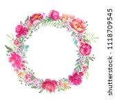 watercolor peonies frame ... | Shutterstock . vector #1118709545