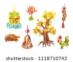 figures of turtle  money tree ... | Shutterstock . vector #1118710742