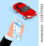 red car and hand with... | Shutterstock .eps vector #1118725322