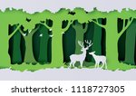 deers in the forest.paper cut... | Shutterstock .eps vector #1118727305