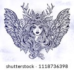 demonic winged angel magic... | Shutterstock .eps vector #1118736398