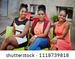 three stylish african american... | Shutterstock . vector #1118739818