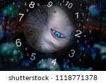 world of numerology and sad eyes | Shutterstock . vector #1118771378