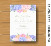 wedding floral invitation with  ... | Shutterstock .eps vector #1118782418