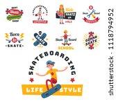 skateboarders people tricks... | Shutterstock .eps vector #1118794952