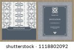 wedding card or invitation with ... | Shutterstock .eps vector #1118802092