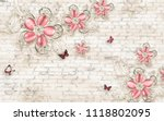 3d wallpaper design with floral ... | Shutterstock . vector #1118802095