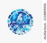 watercolor round blue... | Shutterstock .eps vector #1118805056