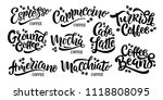 9 coffee quotes. vector text.... | Shutterstock .eps vector #1118808095