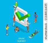 online survey flat isometric... | Shutterstock .eps vector #1118811635