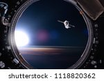 view from a porthole of space... | Shutterstock . vector #1118820362