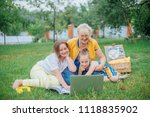 grandmother with kids with... | Shutterstock . vector #1118835902