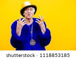 Stock photo grandmother portraits on colored backgrounds 1118853185