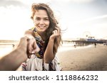 happy couple on the beach | Shutterstock . vector #1118866232