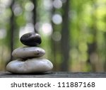 A Stack Of Three Zen Rocks Are...