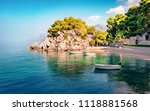 romantic morning seascape of... | Shutterstock . vector #1118881568