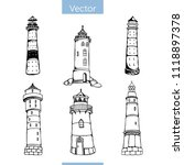 hand drawn set of six... | Shutterstock .eps vector #1118897378