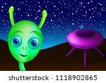 little green alien with purple... | Shutterstock .eps vector #1118902865