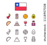 chile icons set. traditional... | Shutterstock . vector #1118907038