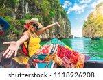 happy traveler asian woman in... | Shutterstock . vector #1118926208