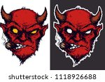 two heads of red devil smoke... | Shutterstock .eps vector #1118926688