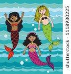 three cartoon mermaids swimming ... | Shutterstock .eps vector #1118930225